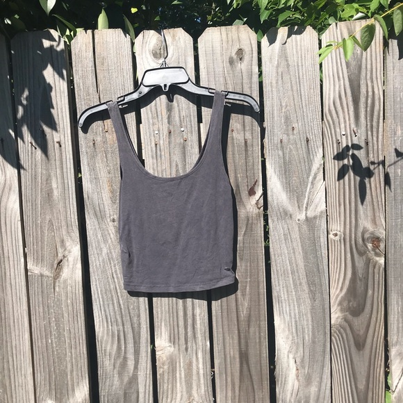 4d615ccee18 American Eagle Outfitters Tops | Ae Grey Cropped Tank Top | Poshmark